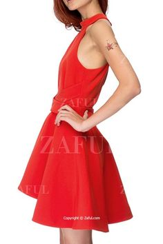 Solid Color Backless Cut Out Keyhole Neckline Dress RED  Summer Dresses  f0e7c7d61
