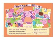 Peppa Pig counting with Mummy is a great way for your child to practise their numeracy skills, by looking at the pictures and counting the objects asked for!