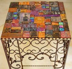 "Done with handmade clay tiles. (Pinner filed under polymer clay) ""Laurie Mika Mosaics I have a coffee table and two end tables that are going to get this facelift. Mosaic Tile Art, Mosaic Crafts, Mosaic Projects, Mosaic Glass, Glass Art, Art Projects, Stained Glass, Mosaic Furniture, Funky Furniture"
