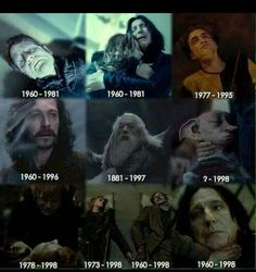 Harry Potter characters- year of birth to year of death Images Harry Potter, Harry Potter Sad, Harry Potter Characters, Harry Potter Universal, Harry Potter Triste, Anecdotes Sur Harry Potter, Hogwarts, Movies And Series, Harry Potter Wallpaper