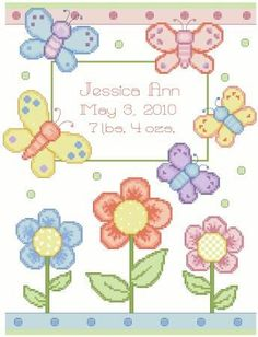 Baby Announcement Cross Stitch Patterns | Butterfly,Birth,Announcement,Cross,Stitch,Pattern,cross stitch pattern