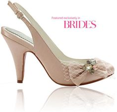 Iris in blush silk with bow and stone detail by Merle & Morris www.merleandmorri... #weddingshoes #bridalshoes #merleandmorris #blushweddingshoes #bowweddingshoes #vintageinspiredweddingshoes