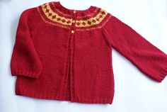 Knit girls sweater red sweater for girl hand knit by BambinoStore