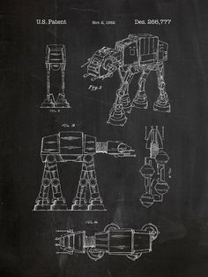 ATAT Star Wars Patent Poster 18x24 screen print decoration technical invention design blueprint schematic retro educational cool screenprint