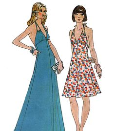 Simplicity 6385 Vintage 70s Misses' Halter Dress by retrowithlana, $10.00