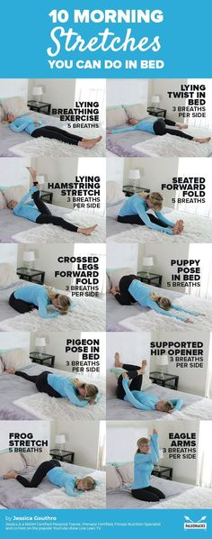 10 Energizing Yoga Stretches You Can Do In Bed In bed morning st. - 10 Energizing Yoga Stretches You Can Do In Bed In bed morning stretches - Fitness Workouts, Yoga Fitness, Pilates Workout Routine, Pilates Training, Physical Fitness, Easy Fitness, Fitness Motivation, Fitness Classes, Physical Exercise