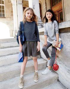J.Crew girls' knit dress with tulle hem, glitter suede high-tops, ruffle-hem sweatshirt, runaround jean, glitter apple bag and Adidas® Stan Smith™ sneakers.