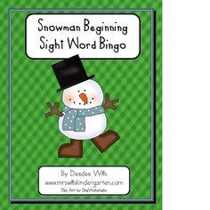 Snowman Sight word Bingo