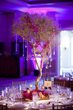 Amazing tall floral branch centerpieces with strings of crystals Tree Branch Centerpieces, Flower Table Decorations, Pumpkin Centerpieces, Fall Wedding Decorations, Decoration Table, Reception Decorations, Wedding Themes, Wedding Centerpieces, Wedding Ideas