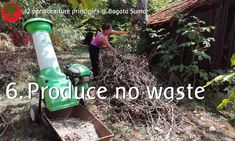 Permaculture principle 6: Produce No Waste  Small branches that we don't use in our branches wall, are mulched so we can cover our paths with wood chips.  Wood chips turn into beautiful soil, they hold water and give nutrients to the garden and they suppress weeds.