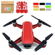 Waterproof Carbon Fiber Stickers Full Body with Batteries Decal Skin Cover Protector For DJI Spark FPV Quadcopter Colorful DIY Nerf Accessories, Toy Tanks, Toy Camera, Dji Spark, Rc Helicopter, St Kitts And Nevis, Carbon Fiber, Full Body, Decal