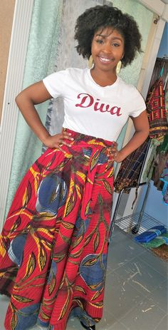 Comfortable and ready for any occasion - this Ankara Skirt made by TOOMBAS will be your go to garment to match with anything in your wardrobe! 100% Ankara Cotton, Gentle Wash, Line Dry, Medium-Cool Iron when needed. If your size is sold out, please contact us direct to see if we can sew it up for you!!!