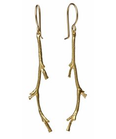 Catherine Weitzman Gold Branch Earrings. Via hip hip gin gin