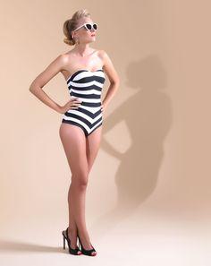Unique Vintage Black & White Stripe Barbara One-Piece Swimsuit - Barbie all day long, dears.