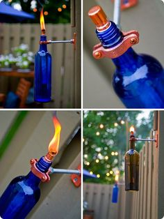 DIY Recycled Wine Bottle Torch. Finally a great project for all those bottles. I love this and plan to do it this spring and fill them with citronella.