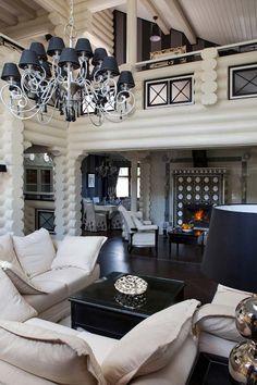 Бревенчатый дом контрастных цветов «Вилла Роза», автор Юлиан Чаплинский