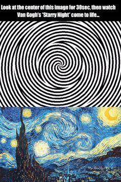 Procrastination Playground – An efficient way to waste time Van Gogh's starry night optical illusion Beste Gif, Wow Art, Mind Blown, Trippy, Doctor Who, Fun Facts, Funny Memes, Funny Gifs, Videos Funny