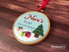 Baby's First Christmas personalized embroidered hanging hoop ornament holiday decor. $18.00, via Etsy.