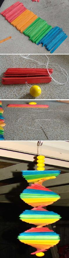 How To Make a Rainbow Wind Mobile - looks pretty easy and maybe a dollar store style craft!