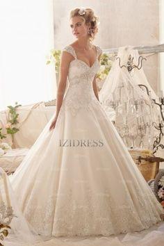 A-Line/Princess Sweetheart Strapless Court Train Tulle wedding dress - IZIDRESSES.com at IZIDRESS.co.uk