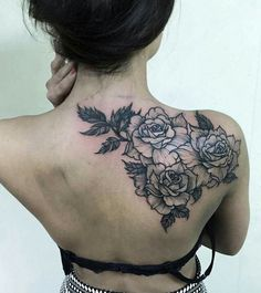 Rose Tattoo | Flower Tattoos | Back of the Shoulder Tattoo | Pic from Tattoo Lovers FB page