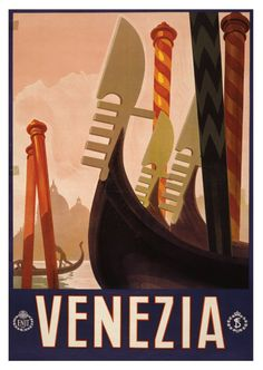 Venice Venezia Italy Travel - Vintage retro reproduction poster. Scan of original poster.