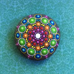 Jewel Drop Mandala Painted Stone rainbow dreams von ElspethMcLean