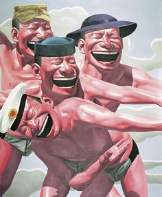 """Yue Minjun [China] (b 1962) ~ """"Hats Series – Welcome"""", 2005. Oil on canvas (170 x 140 cm). 