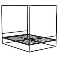 Natasha Modern and Contemporary Platform Canopy Bed - Overstock - 31227065 - King Black Canopy Beds, Metal Canopy Bed, Metal Beds, Best King Size Bed, Platform Canopy Bed, Stylish Beds, Under Bed Storage, Bed Design, Storage Spaces