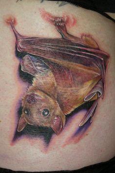 Bat tattoo by Paul Acker of Philadelphia, PA