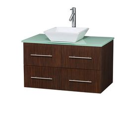 "Bianca 36"" Wall-Mounted Modern Bathroom Vanity - Zebrawood   Free Shipping"