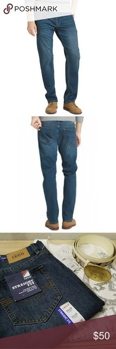 🆕️ IZOD Ultra Soft Straight Fit Jeans These straight fit jeans feature luxuriously soft denim with extra stretch that moves with you for more comfort throughout your day. Five-pocket styling and signature back pocket stitching bring classic style for seasons of versatile wear.  IZOD Ultra Soft Straight Fit Jeans 34x30 Izod Jeans Straight