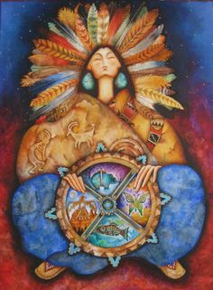 Native American Indian seer and medicine woman by Holly Sierra ~ American Magic realism painter Native American Mythology, Native American Women, Native American Indians, Native Americans, Native Indian, Native Art, Indian Art, Spirit Art, Southwestern Art