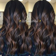hairstyle ideas ideas 50 year old woman ideas black hair ideas dances ideas for guys ideas shoulder length hair ideas with braiding hair ideas 2018 Brown Hair Balayage, Hair Highlights, Black Hair With Brown Highlights, Chocolate Highlights, Black Balayage, Bayalage, Hair Color And Cut, Brown Hair Colors, Hair Painting