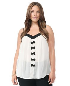 Contrast Bows Chiffon Cami   FOREVER21 PLUS - 2000044623