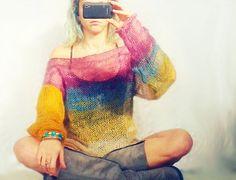 Mohair womens sweater in purple ,teal ,mustard,ecru watercolor shades with long sleeves.For casual and everyday usage, made loose fit,will go perfect with