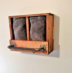 Rustic Towel Rack Wooden Towel Holder Industrial by TwinOakRustics