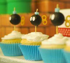 Bob-omb Super Mario Birthday Cupcake Toppers