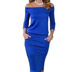 패션 클럽 의류 여름 여성 섹시한 bodycon dress three 분기 소매 슬래시 목 드레스 캐주얼 파티 레드 블루 블랙
