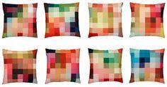 Christian Zuzunaga's Fire cushion collection for Kvadrat that feature the designer's trademark pixel pattern.