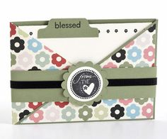 "Criss-Cross Card        This three-part card includes a colorful floral wrapper (folded to create a pocket), a paper ""belly band,"" and a notecard stamped with the word ""blessed."" The next two slides show you how to create the wrapper. As shown, the complete card measures 5 1/2 x 4 inches."