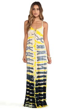 Gypsy 05 Empire Spaghetti Tie Maxi Dress in Black & Yellow