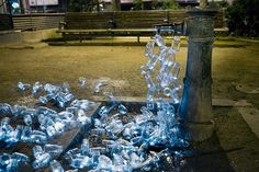 Luzinterruptus *water fountain protest  -Spanish Art Collective  http://www.artdebutant.com