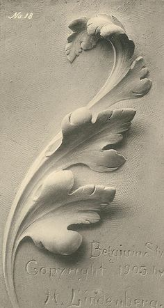 The Acanthus leaf applied to the various styles by Herman Lindenberg Plaster Sculpture, Plaster Art, Art Sculpture, Wall Sculptures, Baroque Frame, Filigree Tattoo, Ornament Drawing, Carving Designs, Clay Art