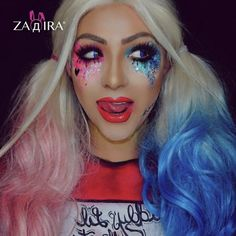 Halloween Harley Quinn cosplay full realistic wigs, colorful pastel full lace front wigs, 24 in cm), wavy long pink blue heat resistant Joker Make-up, Joker Et Harley, Harley Quinn Halloween, Harley Quinn Cosplay, Up Halloween, Halloween Costumes, Halloween Photos, Vintage Halloween, Makeup Clown