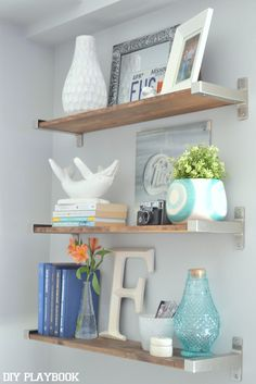 Rustic Ikea Shelves Hack - DIY Playbook - I like this shelf styling...really cute and you can switch it up all the time