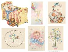 Sweet Babies 2 Digital Collage from Vintage Greeting Cards - Cut Outs. $3.50, via Etsy.