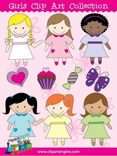 This collection includes a set of 10 royalty-free clip art graphics. It comes with black and white line art files of each girl design. The graphics in this clip art collection graphics are a piece of candy, butterfly, cupcake, heart, and 6 girls with different styles.