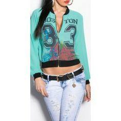 Vest mint groen Koucla WWW.MISSLADY.NL Zomer vest jasje mint groen. Deze vest heeft de tekst Boston 33 en is ook in het wit en roze beschikbaar voor €24,95. Kijk nu bij onze goedkope zomer jasjes en vesten.