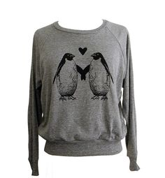 Penguin Love Raglan Sweatshirt - American Apparel SOFT vintage feel - Available in sizes S, M, L. $25.00, via Etsy.